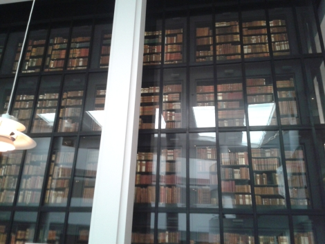 Surrounded by books in the British Library